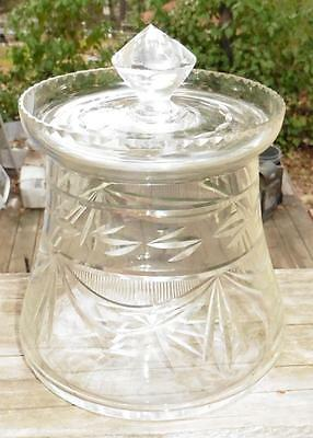 Vintage Cut Glass Swag Drape Crystal Covered Candy Jar Biscuit Canister