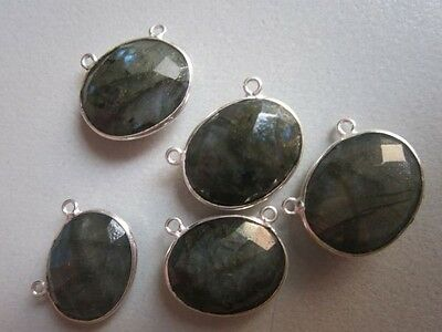 NATURAL LABRADORITE OVAL  CONNECTORS 2 LOOP STERLING SILVER  PLATED  5PCS 15X19M