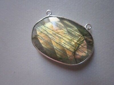 NATURAL LABRADORITE OVAL  CONNECTORS 2 LOOP STERLING SILVER  PLATED  1PCS 20X30M