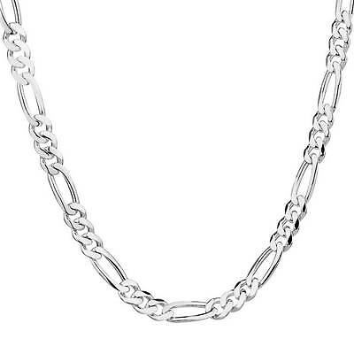 Attractive Jewelry 5pcs 925 sterling silver Figaro Chain Necklace 30inch 2mm