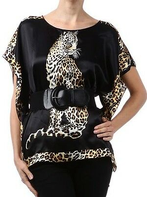 New Woman's Leopard Animal Printed Belted Silky Top size LARGE Fashion Central