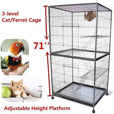71''Adjustable Cat Kitten Cage Ferret Bird Ladder Iron House Pet Parrot Supply