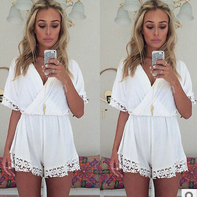 Women Ladies Clubwear V Neck Playsuit Bodycon Party Jumpsuit/Romper Trousers