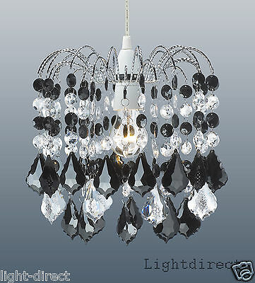 Crystal Droplet Acrylic Ceiling Pendant Light Shade Lampshade Black  & Clear