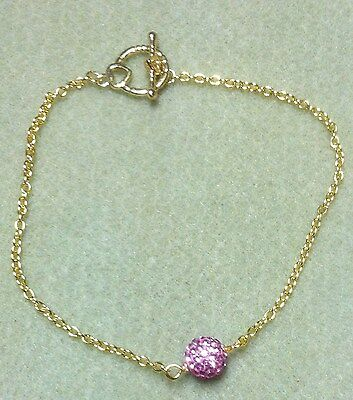 """Pave Pink Glitter Ball Gold Chain Anklet 10"""""""