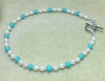 """Faux White Pearl and Turquoise Anklet 10-1/2"""""""