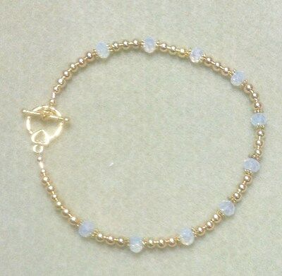 """Golden Opaque White Luster Anklet 10"""""""