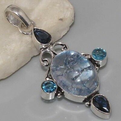 LARGE Snakeskin Quartz, Paris Blue Quartz & 925 Silver Pendant 58mm Jewelry