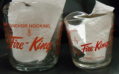 Set of 2 Anchor Hocking Fire-King Glass Measuring Cups 1 Cup & 2 Cups Vintage