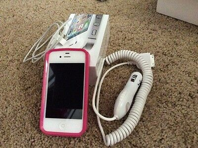 Apple IPhone 4S 16GB White , Car charger (12V), Case- Sprint Without Contract