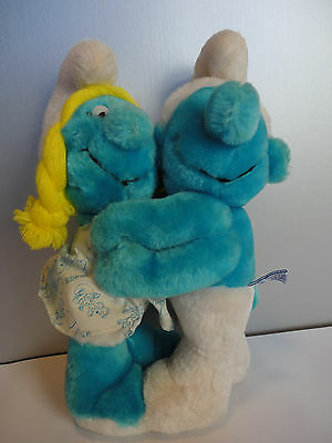 Vintage Stuffed Plush Peyo 1982 Wallace Berrie Hugging Smurf and Smurfette