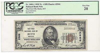 1929 $50 Type 1 The First National Bank of Butte, MT PCGS 20 Very Fine F# 1803-1