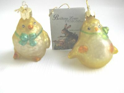 2 HAND BLOWN GLASS CHICKS ORNEMENTS BETHANY LOWE EASTER