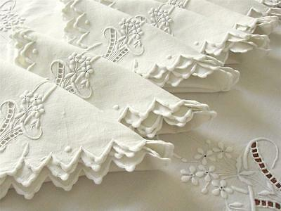 FRENCH Antique Wedding Bridal Linen Tablecloth Napkins 68x106 BEST EMBROIDERED