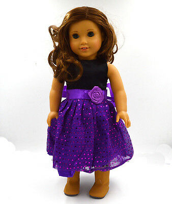 "2015 Beautiful Doll Clothes Fits 18"" American Girl Handmade purple Party Dress"