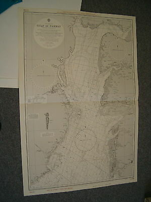 Vintage Admiralty Chart 51 INDIA, west coast - GULF OF CAMBAY 1934