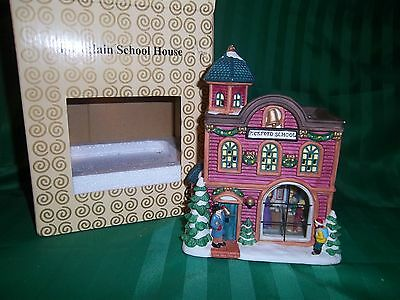 Electric light-up Porcelain School House with Classroom inside the Window NIB