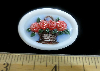 Czech Glass Button White Oval w/Basket of Handpainted Flowers  J42