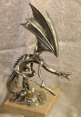 Rawcliffe Pewter Climbing Dragon Sculpture - Rare - 1111001 - Missing Crystal