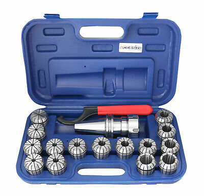 CAT40 Shank, 15 Psc ER40 Collet Set with Wrench in Fitted Strong Box, #CT40-ER40