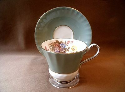 Aynsley Cambridge Blue Panelled Teacup & Saucer With Posy Decoration