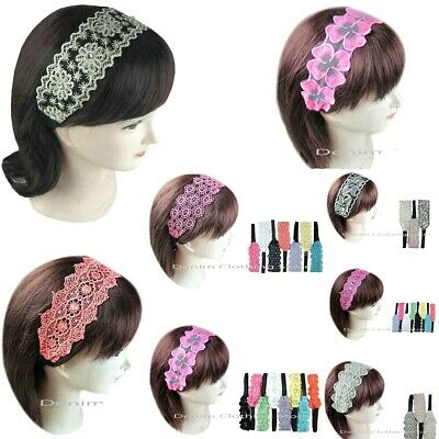 Lot Of 6 Fashion Women Fabric Lace Wide Stretch Headband Retro Cotton Headwrap