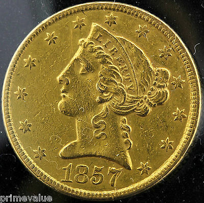 RARE! 1857 $5 GOLD COIN! EXCEPTIONAL COIN! HARD TO FIND!
