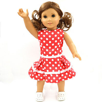 New Cute Skirt Doll Clothes for 18''American Girl Handmade Red  Party Dress