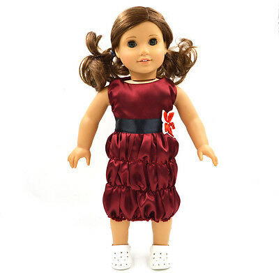 Fashion Blue Skirt Doll Clothes for 18'' American Girl Handmade Doll  Red Dress