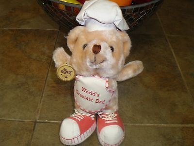 Vintage Russ Stuffed Plush Bear in Chefs hat and apron World's Greatest Dad New