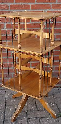 Vintage Wooden Revolving Bookcase, 2-tiers,