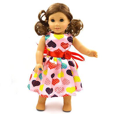 "HOT sale Doll Clothes fits 18"" American Girl Handmade  Party Pink Dress"