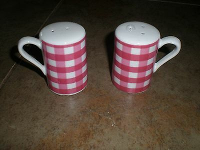 Vintage Salt & Pepper Shakers Checkered with handle Dark Pink Light Red