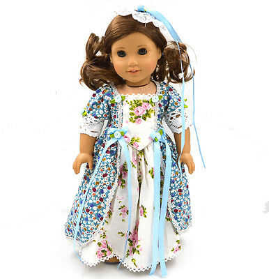 "2015 HOT sale Doll Clothes fits 18"" American Girl Handmade Blue Clothes"