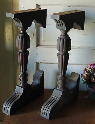 Antique Solid Wood Pair of Carved Organ?? Legs