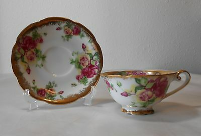 "Original Napco China Hand Painted Cup & Saucer ""SD141"""