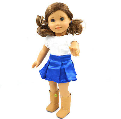 "2015 Hote Sale Doll Clothes fits 18"" American Girl Handmade Party Blue Dress"