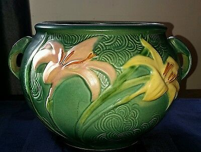 Roseville Pottery Green Zephyr Lily Jardiniere #671-6 Marked