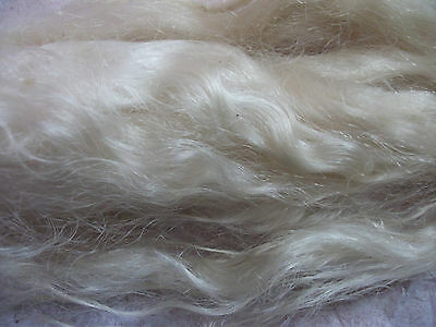 Undyed Combed Natural White Platinum Angora Mohair Reborn dolls locks wig hair