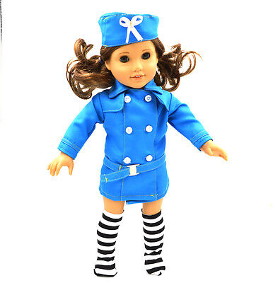Fashion Blue  Skirt Doll Clothes for 18'' inch American Girl Handmade  Dress