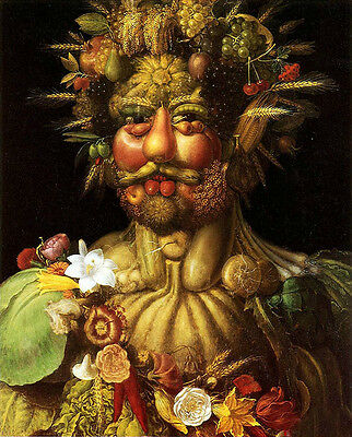 Oil panting Giuseppe Arcimboldo - Vertumnus, Rudolf II man with fruits flower