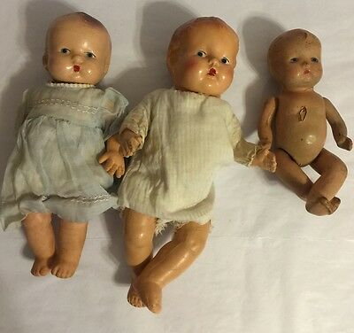 Lot Of 3 antique & vintage Assorted Size Type Condition Dolls Babys