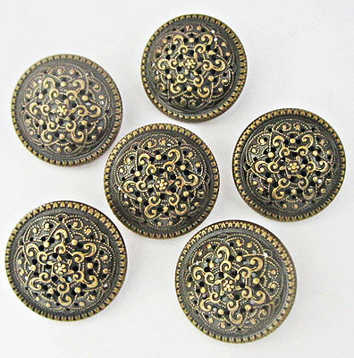 10 vintage like pierced bronze color brass metal shank buttons lot 22mm #M407