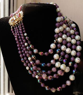 VINTAGE OUTSTANDING 6 STRAND CZECH/BOHEMIAN GLASS STATEMENT RUNWAY NECKLACE