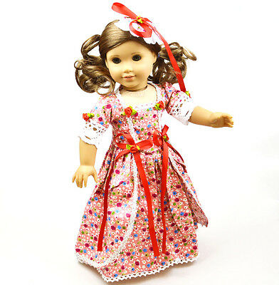 2015 New 18''American Girl Doll Clothes Handmade Red  Nice Nightgown