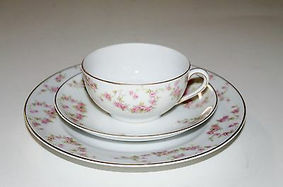 Noritaki White Bosnia porcelain 3 piece set; cup, saucer and lunch plate
