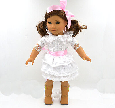 New Fashion Skirt Doll Clothes for 18''American Girl Handmade WhiteParty Dress .