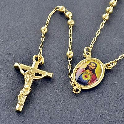 Noble men's 18k yellow Gold Filled Religious Jesus Rosary Beads / Necklace Cross