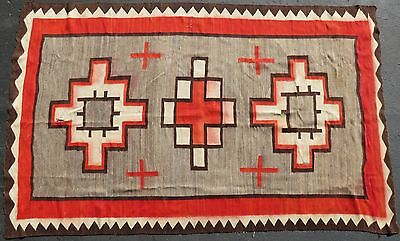 "HUGE 1940s Native American Indian NAVAJO Rug CROSSES 68"" x 106"""