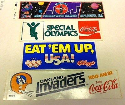 Lot 45 - 4 Bumper Stickers-3 Coke Sports/1 Kellogs Olympics - Great Condition